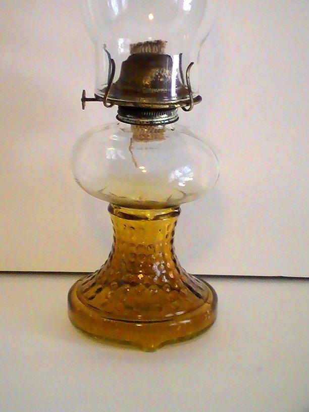 Vintage Oil Lamp Amber Hobnail Glass P & G Eagle Burner 16