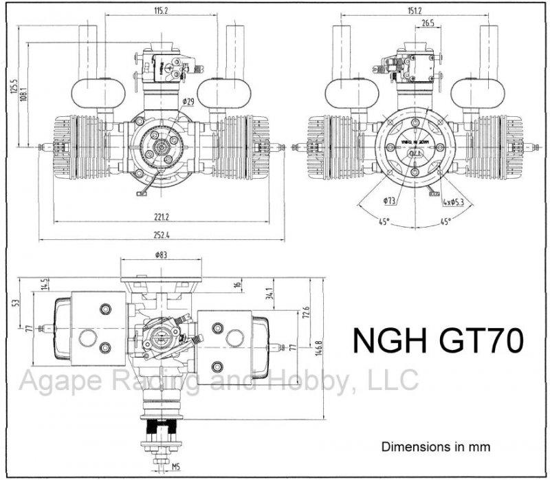 NGH GT70cc TWIN cylinder gas engine 7.9HP