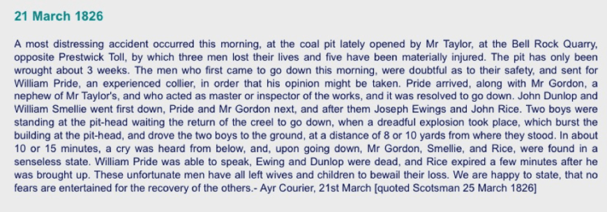 Prestwick Toll - 1826 Ayr Advertiser article