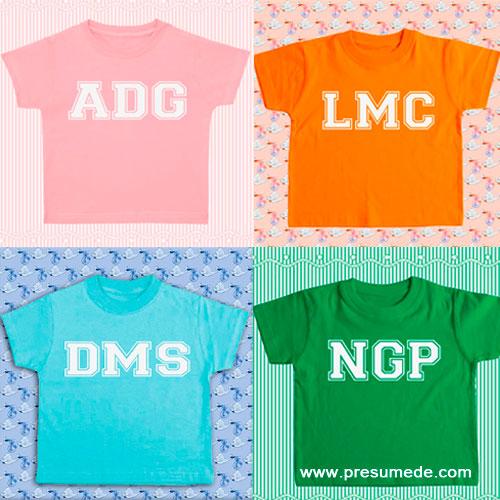 Camisetas para bebé personalizadas con sus iniciales