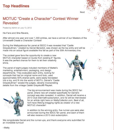 SDCC 2012 - Mattycollector Create-A-Figure Winner