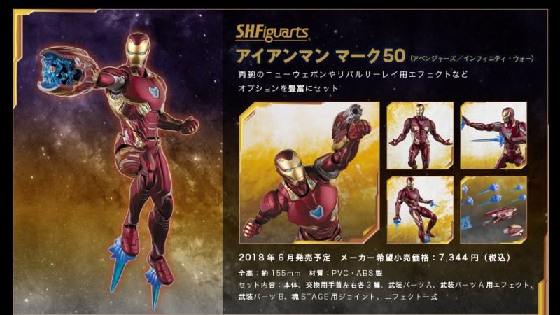 Iron Man Mark 50 Bandai: S.H. Figuarts Marvel Infinity War Lineup Revealed