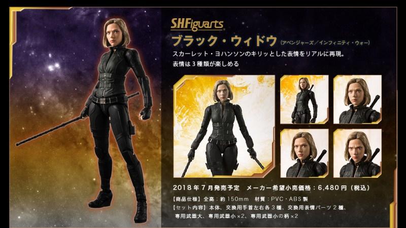 Black Widow Bandai: S.H. Figuarts Marvel Infinity War Lineup Revealed
