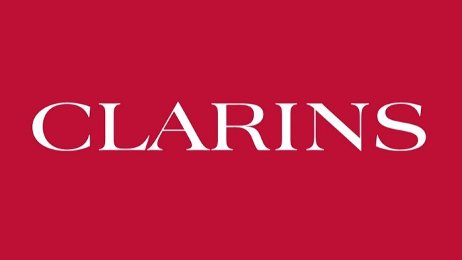 clarins logo with red background