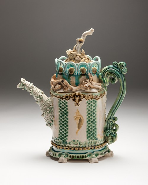 Shell Teapot with Swirl Handle