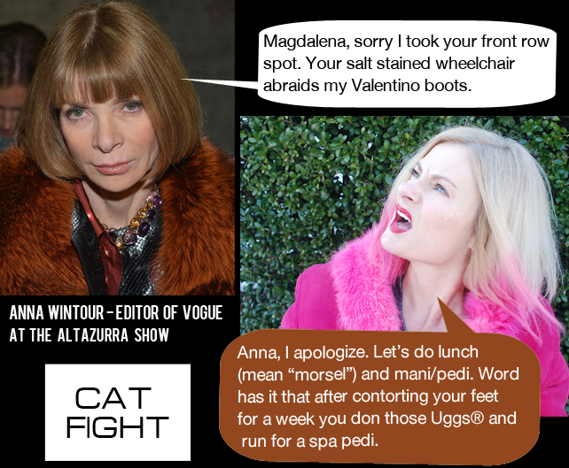 Magdalena and Anna Wintour cat fight 2013 fashion week.