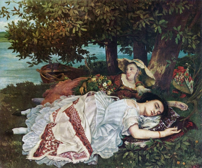 Gustave Courbet Ladies on the Seine Painting