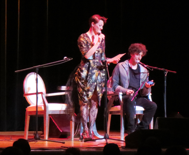 Amanda Palmer Neil Gaiman Town hall NYC on stage