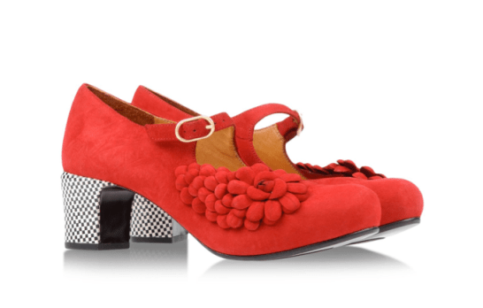 Red Chie Mihara shoes with checkered heel
