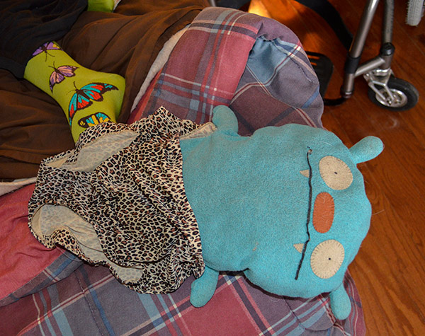 Ugly doll wearing leopard granny panties