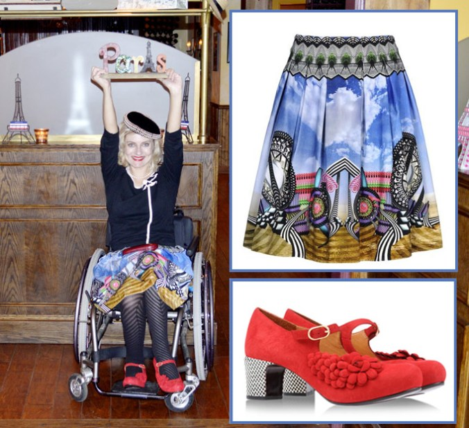 Magda in Manish Arora skirt and Chie Mihara shoes