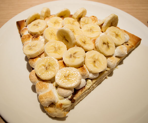 banana, chocolate, marshmellow pizza - Max Brenner NJ