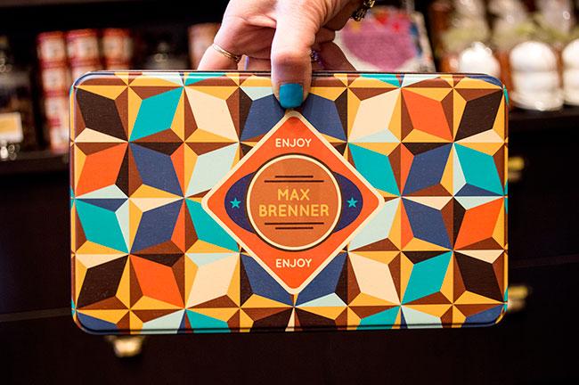 tin of chocolate at Max Brenner Paramus, NJ