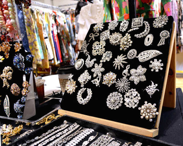 Rhinestone brooches at Manhattan Vintage show