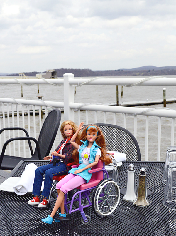 Wheelchair Barbies having lunch on the Hudson River