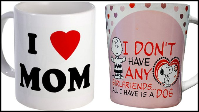 I love mom coffee mug and I don't have girlfriends mug with Charlie Brown and Snoopy