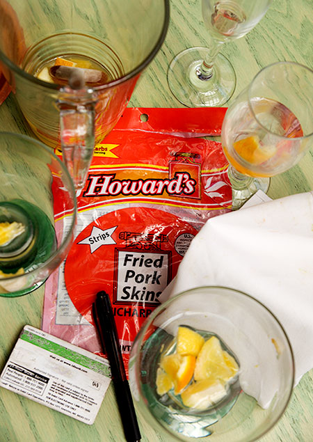 Howard's pork rinds and sangria glasses