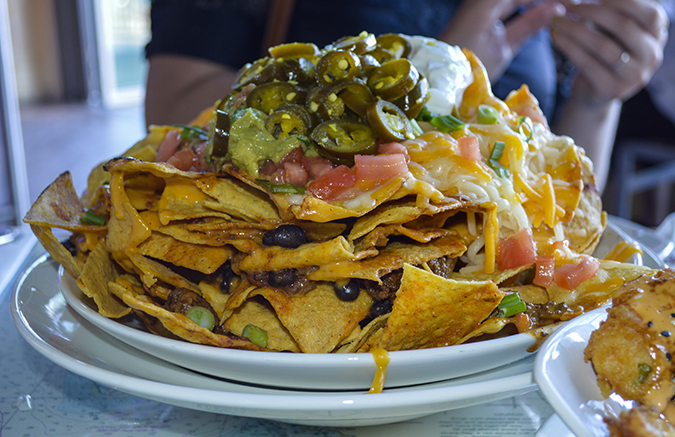 huge nacho plate at Jimmy Buffets margaritaville