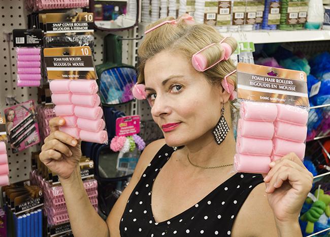 Pretty Cripple in pink foam curlers