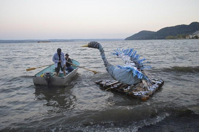 Bird sculpture on the Hudson River Haverstraw RiverArts Festival