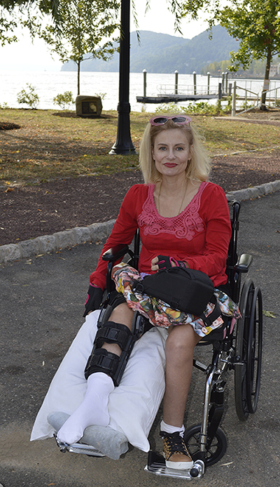 Wheelchair disabled blogger at Emeline Park Village of Haverstraw, NY