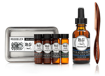 Brooklyn Grooming beard oil sampler kit to groom hipster beards.