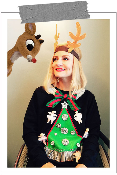 Magdalena of Pretty Cripple modeling a DIY Jamie Kreitman Ugly Christmas Sweater just before roasting Rudolph