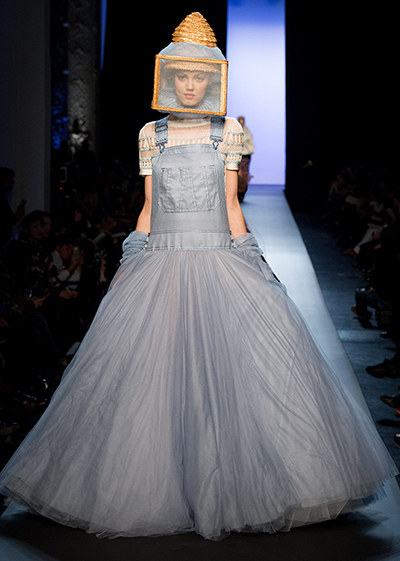 Jean Paul Gaultier denim bee keeper overall gown Couture week 2015