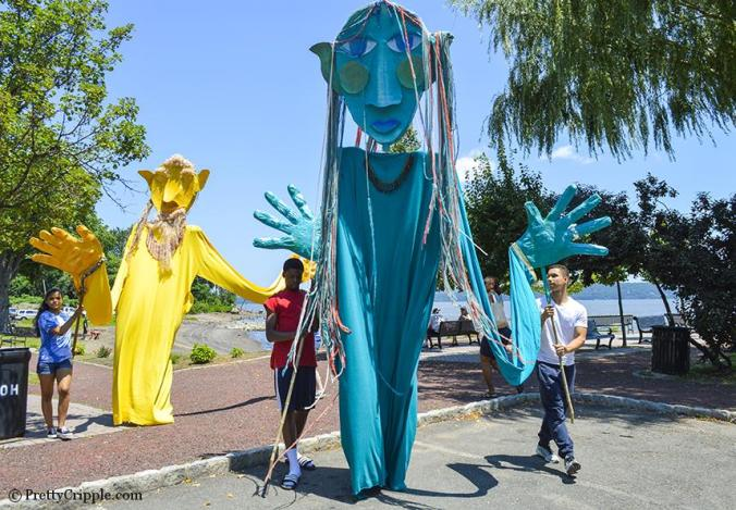 paper mache gigantic puppets for music festival
