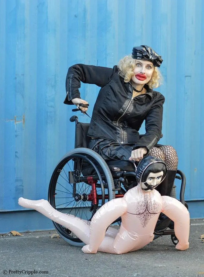 Pretty Cripple as Kylie Jenner in a wheelchair for Interview Magazine parody