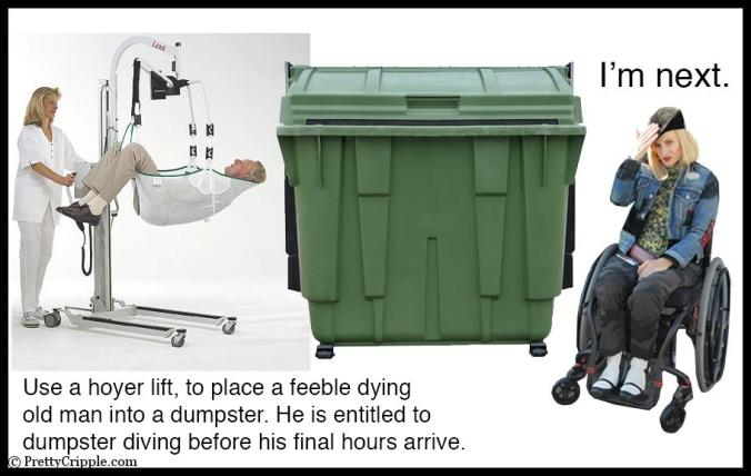 Old man being lifted into a dumpster while wheelchair fashion blogger waits her turn to go dumpster diving.