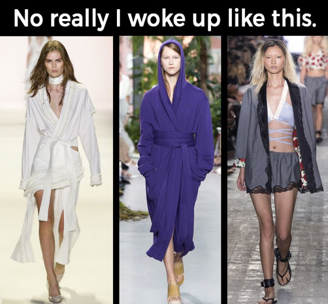 pajamas bathrobe trend NYFW 2016