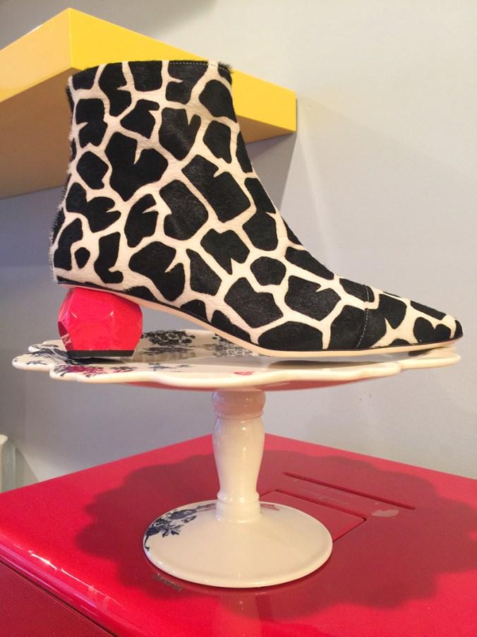 Frances Valetine giraffe print zip bootie
