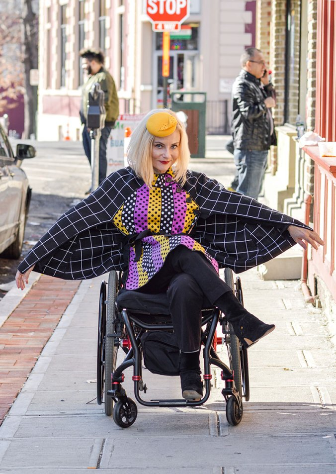Pretty Cripple Fashion Blogger in Duro Olowu cape