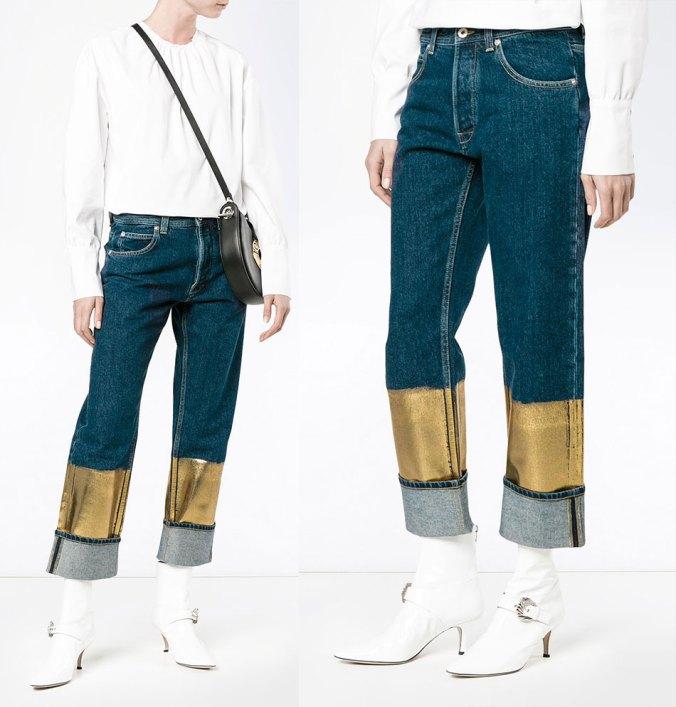 Loewe gold dipped jeans on Moda Operandi