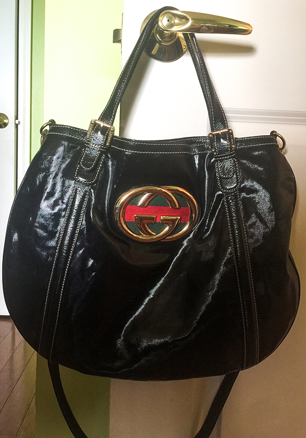 1990s patent leather gucci tote bag