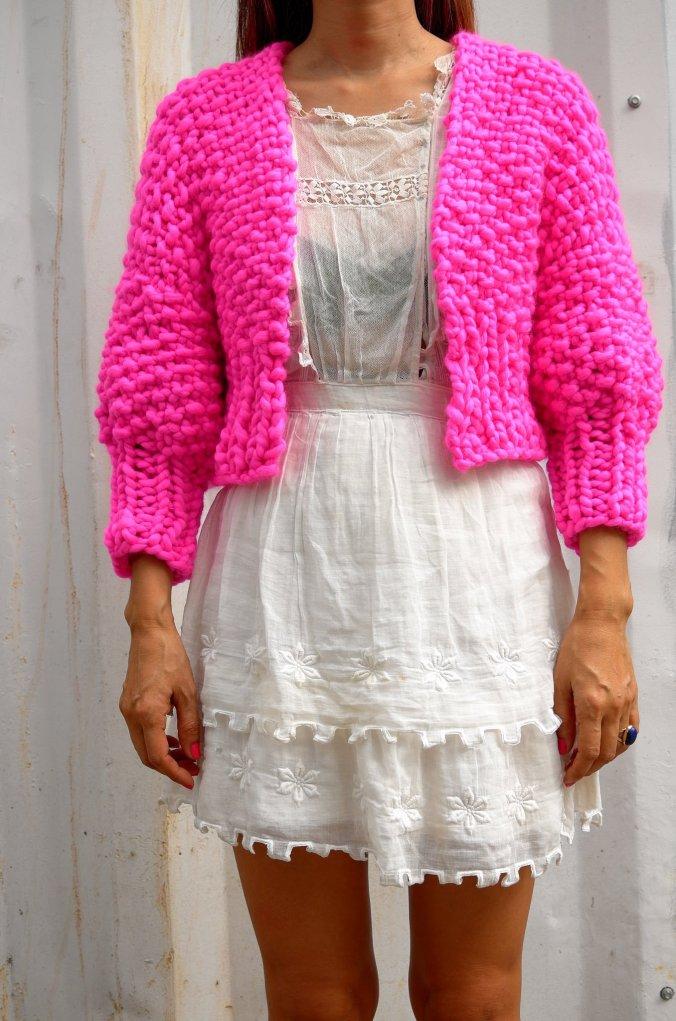 Loopy Mango pink cropped cardie