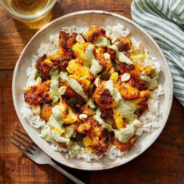 Indian crispy cauliflower vegetarian dish