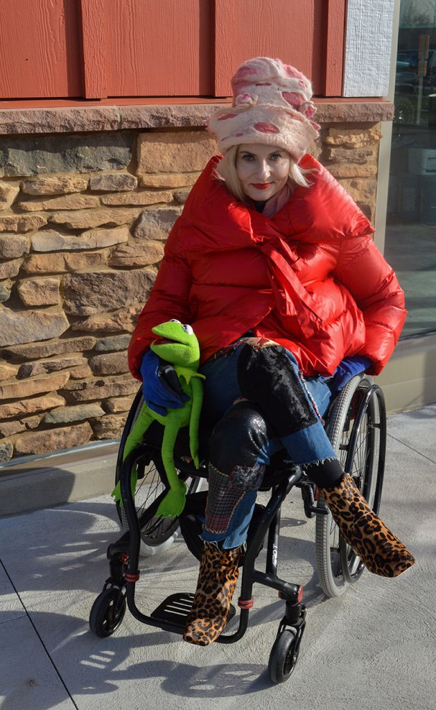 Wheelchair fashion blogger wearing Bacon puffer jacket