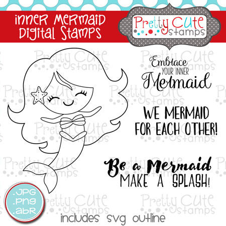 pcs inner mermaid digital