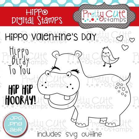 pcs hippo digital stamp