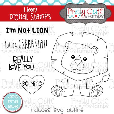 pcs lion digital stamp