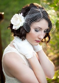 Curly Wedding Hairstyle for Short Hair with Flower ...
