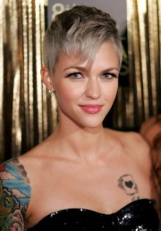 short gray pixie haircut with long