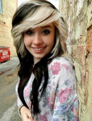 black hair with blonde highlights