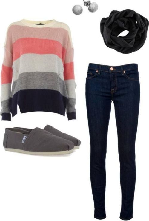 Coral Striped Sweater Outfit for 2017
