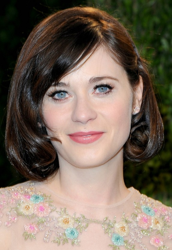 Zooey Deschanel Medium Hairsyle Curly Bob Pretty Designs