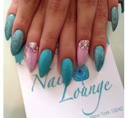 blue pointy nails - pretty