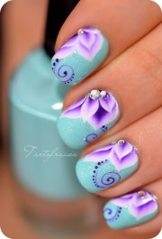 colorful flower nail design