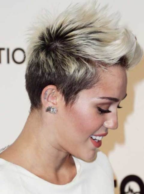 Miley Cyrus' Radical Pixie Haircut with Spiky Top Section